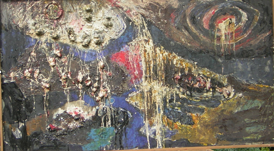 An early example of 'matter' painting, using nuts
